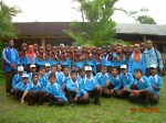 Peserta LDKS Pengurus OSIS MTsN Bangsal Tahun 2008/2009 sedang berpose di Hotel Indah Claket Pacet Mojokerto